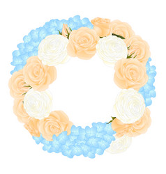 orange rose blue hydrangea and white ranunculus vector image