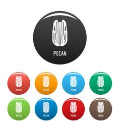 Pecan icons set color vector