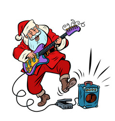 playing electric guitar santa claus character vector image