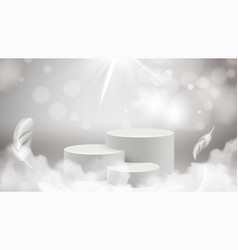 podium background grey realistic stand clouds vector image