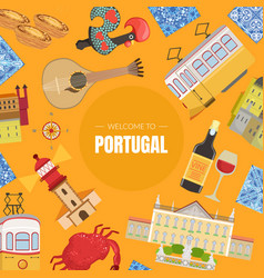 portugal banner template portuguese landmarks and vector image