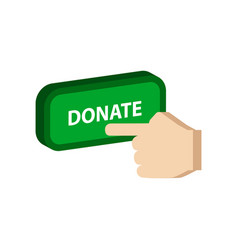 Pressing donate button donation symbol flat vector