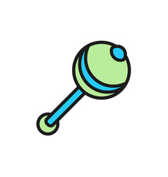 Rattle maraca flat color icon isolated on white vector