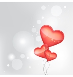 red balloons made of hearts background vector image