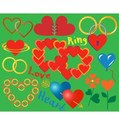Ring and heart collection vector image