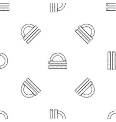 ruler and protractor pattern seamless black vector image