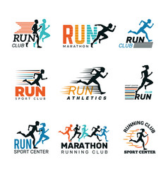 Running logo marathon club badges sport symbols vector