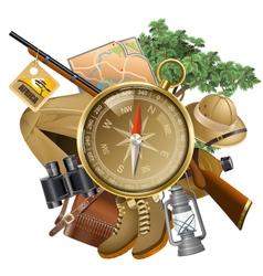 Safari Concept with Compass vector