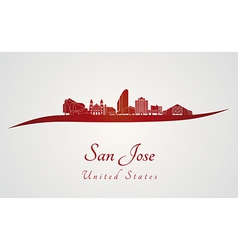 San Jose skyline in red vector image