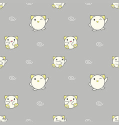 seamless pattern cute baby animals on gray vector image