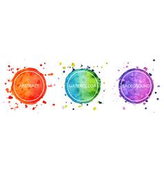 Set 3 multicolor watercolor hand drawn circles vector