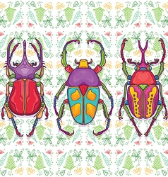 Set of 3 Colorful Beetle Bugs Insect vector