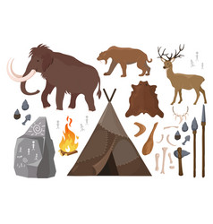 set of elements of stone vector image