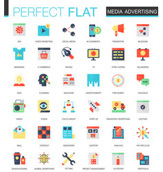 set of flat media advertising icons vector image