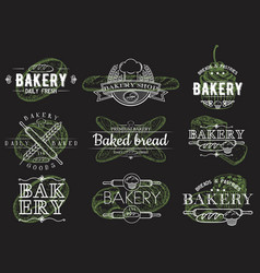 set vintage bakery emblems logos vector image