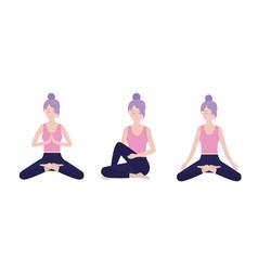 set woman practice yoga meditation vector image