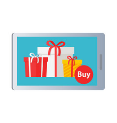 showing of buying nice colourful presents online vector image