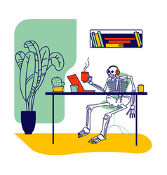 Skeleton character wearing headset sitting at vector