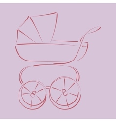Sketched baby stroller buggy vector