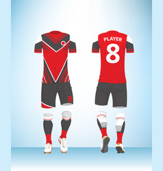 soccer jersey football t-shirt red white and vector image