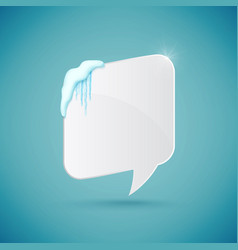 speech bubble decorated with realistic snow and vector image