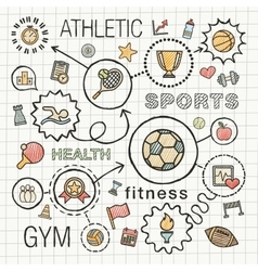 Sport hand draw integrated icons set vector