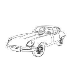 sporty retro car jaguar e-type drawn sketch vector image