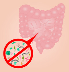 Stop bacterial overgrowth in small intestine sign vector