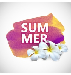 Summer label with frangipani flowers on watercolor vector