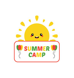 sun character inviting to visit summer camp vector image
