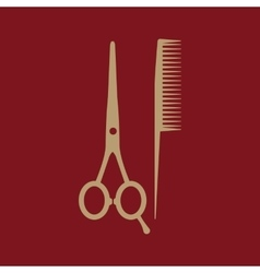 The scissors and comb icon Barbershop symbol vector