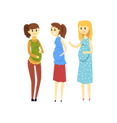 three smiling pregnant women cartoon vector image