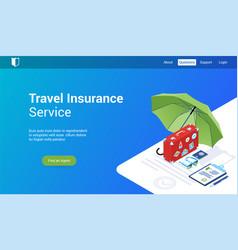 Travel insurance lp template vector