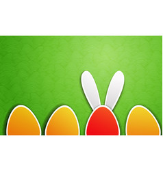 Unique egg with bunny ears and other easter eggs vector