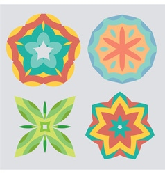 Vintage geometric ornament pattern set vector