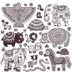 Vintage set isolated ethnic animals and symbols vector