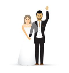 wedding couple waving vector image