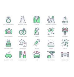Wedding timeline line icons vector