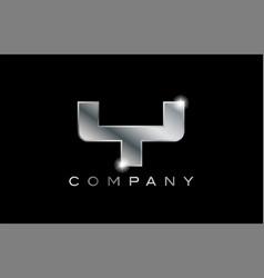 Y silver metal letter company design logo vector