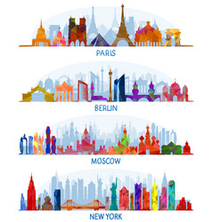 Architecture paris berlin moscow and new york vector