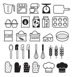 bakery tool icons set vector image