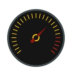 Black speedometer icon flat style vector image