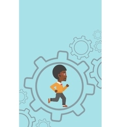 Businessman running inside the gear vector image vector image