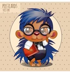 Character hedgehog nerd boy with book vector image