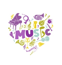 Colorful Card with Music Instruments - hand drawn vector image vector image