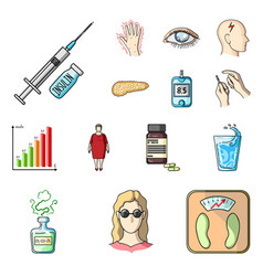 diabetes cartoon icons in set collection for vector image vector image