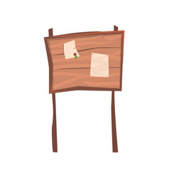 announcements on an old wooden board vector image