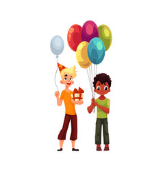 black little boy with balloons caucasian teenager vector image vector image