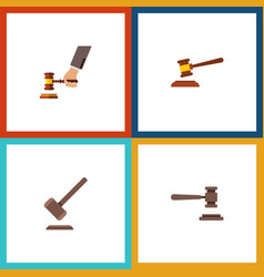 flat icon court set of tribunal hammer legal and vector image vector image