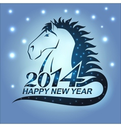 Horse with stars as a symbol of 2014 vector image vector image